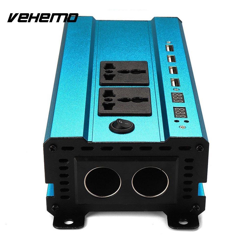 Vehemo modifié onde sinusoïdale DC12V à AC220V Auto onduleur voiture onduleur adaptateur solaire onduleur en alliage d'aluminium alimentation