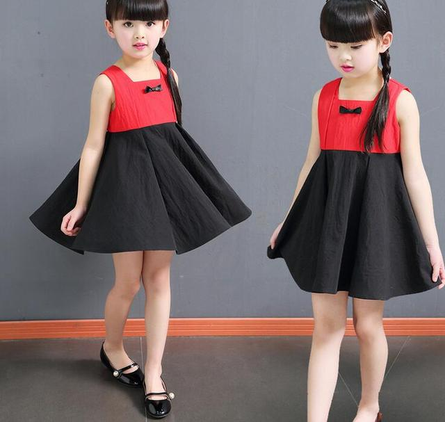 479024531402c 2017 Girls Kids Clothing Dresses Baby Red Black Cotton Sleeveless Brief  Casual Loose Clothing Outfits Dress