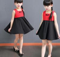 2017 Girls Kids Clothing Dresses Baby Red Black Cotton Sleeveless Brief Casual Loose Clothing Outfits Dress