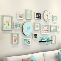 Light Green Frames For Pictures Fresh Decoration For Living Room 15 pcs/set Picture Frame Combination Quality Wooden Photo Frame