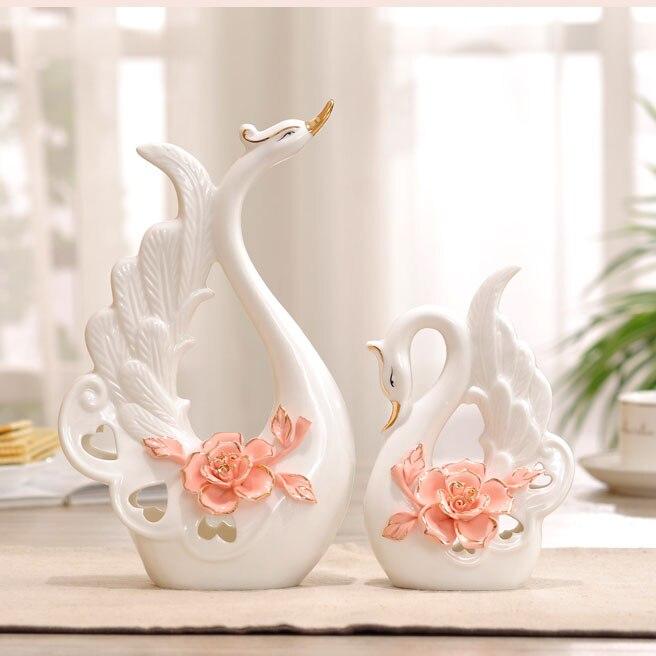 White Ceramic Swan Home Decor Crafts Room Decoration