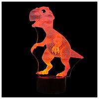 3D Lamp Optische Illusie Led-nachtlampje, verbazingwekkende 7 Kleuren Dinosaurus Vorm Lampen met USB Lading voor Home Decor