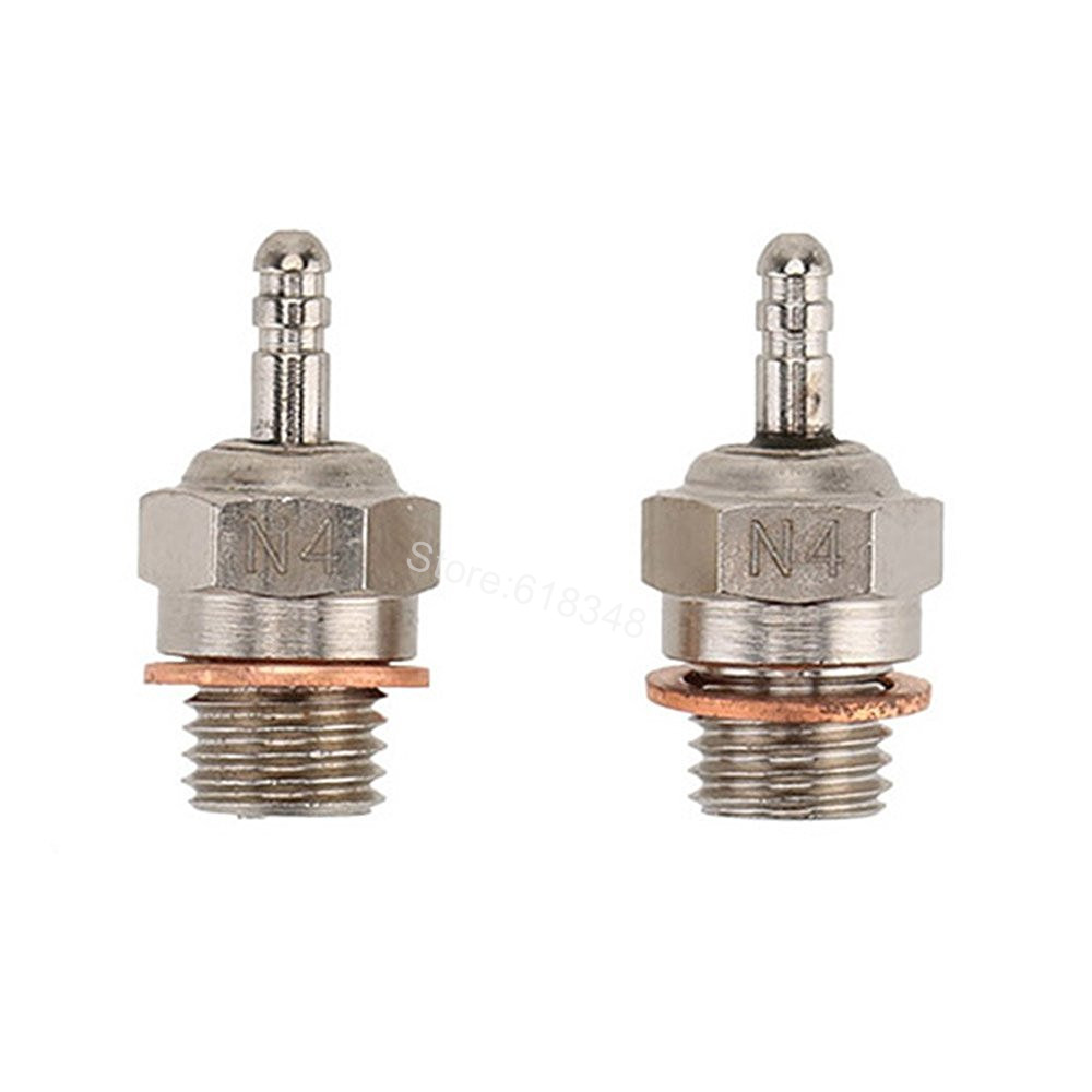 2pcs Spark Glow Plugs 4# N4 Nitro Engine Parts Replace OS 8 For 1:10th RC Truck Buggy Truggy Fit Traxxas Redcat HSP 70117 iridium spark plugs 4 pack