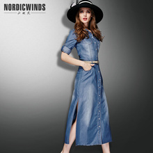 2017 spring dress summer women s clothing denim dress fashion elegant full dress slim placketing denim