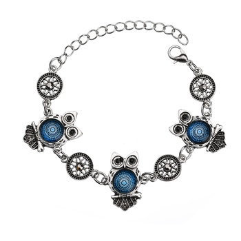 MissCyCy Ancient Silver Color Owl Jewelry Set New Synthetic Blue Stone Pendant Necklace 1