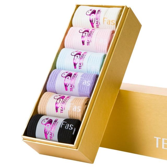 TEAL Woman Combed Cotton Socks Women's Cute Candy Color Casual Socks Antibacterial Deodorant Sock Gift Box 6 Pairs/box FC-006