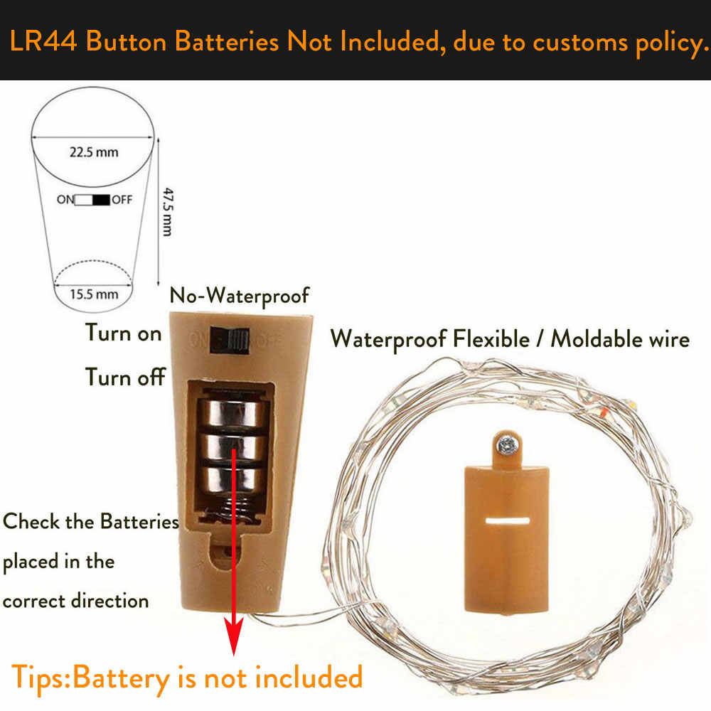 2 M 20 leds LED Battery Operated Argento Filo di Rame Impermeabile Luci Della Stringa per la Festa Nuziale Di Natale Leggiadramente di Natale Ghirlanda decor