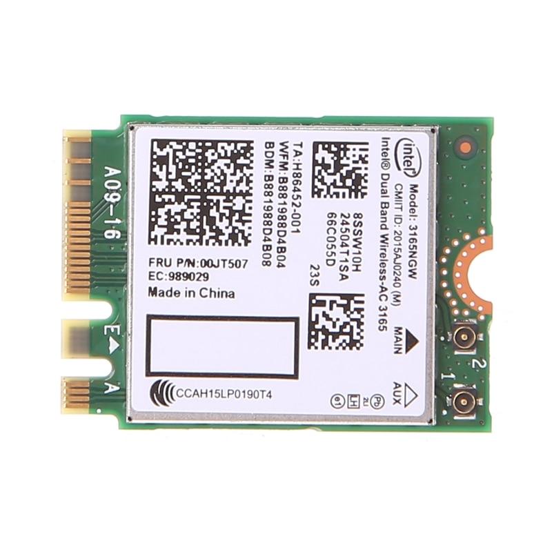 Intel Dual Band Bluetooth Wireless-AC 3165 BT4.0 2.4G/5G 433M NGFF NGW Net Card