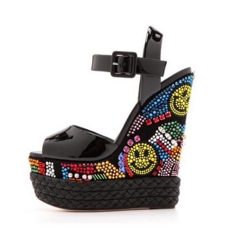 Gullick Brand Black Patent Leather Wedge Sandals Multi-color Crystal Embellished Wedge Sandals Ultra Weave Braid Heel Shoes