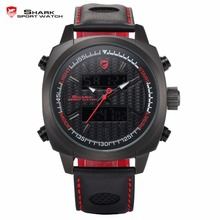 Silvertip Shark Sport Watch Black Red Mens Dual Time Date Alarm Stop Quartz Leather Band Digital Waterproof Wrist Watches /SH493