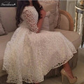 New Arrival 2016 STD White A-Line Scoop Long Sleeves Lace Formal Evening Dresses Charming Beautiful Vestido De Festa Prom Gown