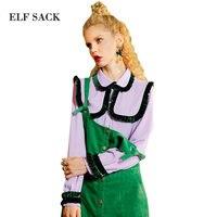 ELF SACK Autumn Vintage Chiffon Blouse Women Stringy selvedge Contrast Color Blouses Elegant Retro Loose Shirt Office Womens Top