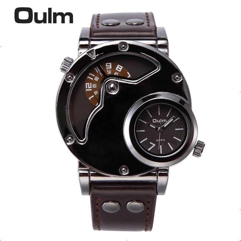 Oulm Watch Man Quartz Watches Top Brand Luxury Leather Strap Military Sport Wristwatch Male Clock relogio masculino gonewa men watches top brand luxury leather strap watch sport quartz wristwatch waterproof military clock fashion relogio gon009