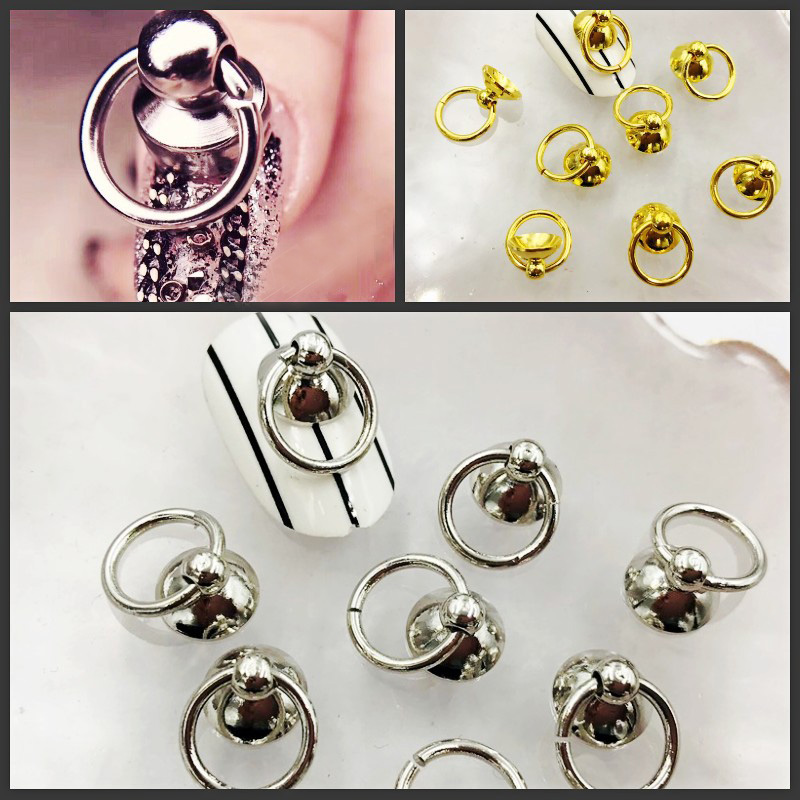 100 Pc Gold Silver Heavy Metal Nail Art Decorations Ring Heads Punk Rock 3d Manciure Accessory DIY New Arrival Wholesale Jewelry metal ring holder for smartphones silver