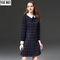 spring plaid Dresses lapel work patchwork striped Dress women plus size 5XL
