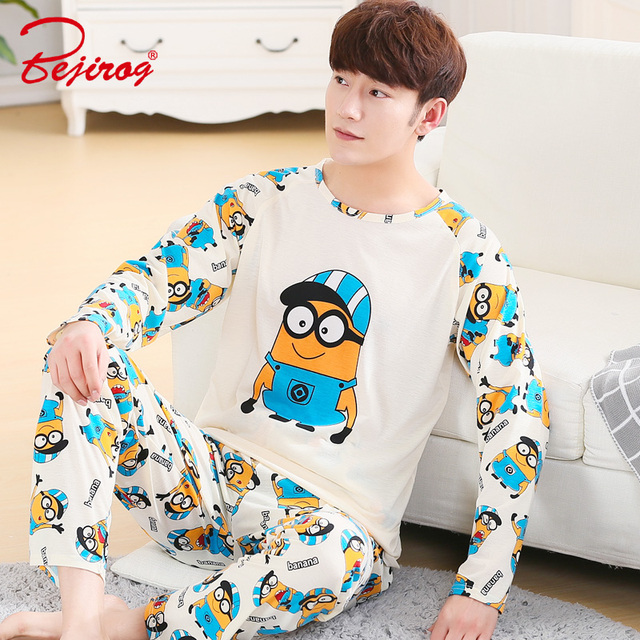 Bejirog 2018 Long Sleeved Pajama Set Men Cotton Plus Size Sleepwear Male  Sleep 9b4ec33f4