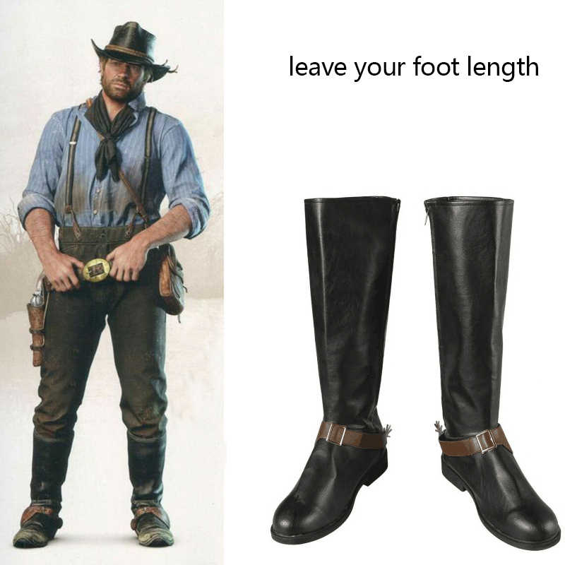 Game Red Dead Redemption 2 Costume Cowboy Arthur Morgan Cosplay Boots  Leather Shoes Halloween Carnival Accessories Custom Made