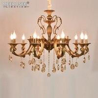 10 Heads Brass Chandelier Light Fixture Antique Brass Pendant Vintage Copper Crystal Lamp Lustres Lighting 100