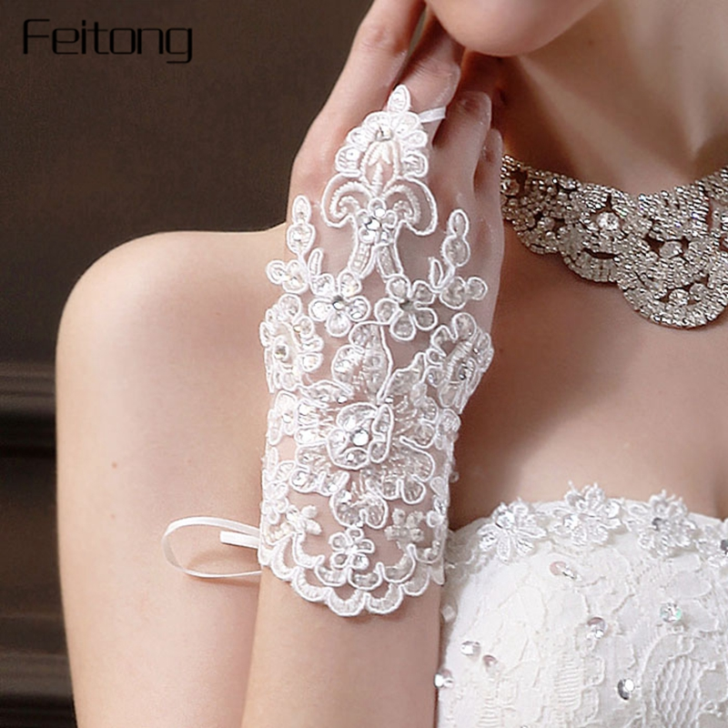 Feitong Bride Party Dress Gloves Women Rhinestone Lace Satin Fingerless Gloves Elegant Lady White Glove Mitten Mitts #YL