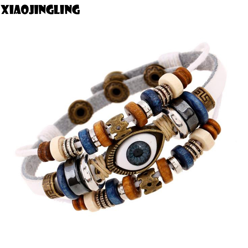 Creative Beads: XIAOJINGLING White Genuine Leather Evil Eye Bracelet