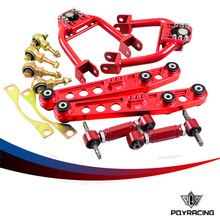 PQY STORE- CHASSIS COMPONENTS FOR 92-95  EG DC2 Red Front and Rear Camber Kit + Bushing Kit + Rear Lower Control Arm LCA