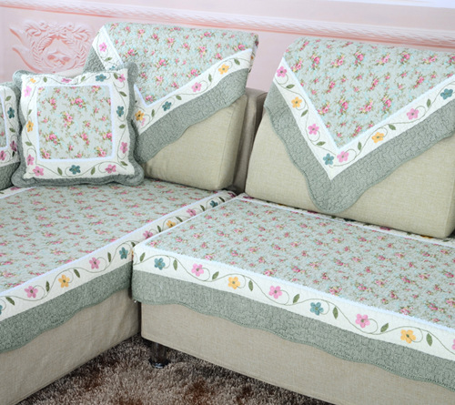 Pastoral Floral Cotton Sofa Cloth Fabric Sectional Sofa Towel Set Sofa  Couch Covers For Home Corner Sofa Cover Slipcover Green In Sofa Cover From  Home ...