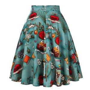 Image 2 - Damska plisowana czarna spódnica rozkloszowana średniej długości Runway Vintage Sundress Pinup 50s 60s bawełna wysokiej talii szkoła codzienna Skater Rockabilly