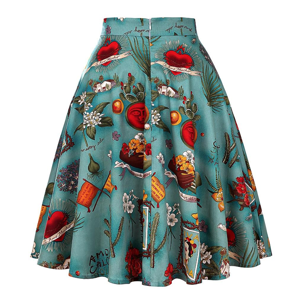 Image 2 - تنورة نسائية ميدي تنورة كلاسيكية من Rockabilly للسيدات بنبات 50s 60s من القطن بطيات عالية الخصر بنقوش صغيرة سوداء اللون تنانير يومية-في تنانير من ملابس نسائية على AliExpress