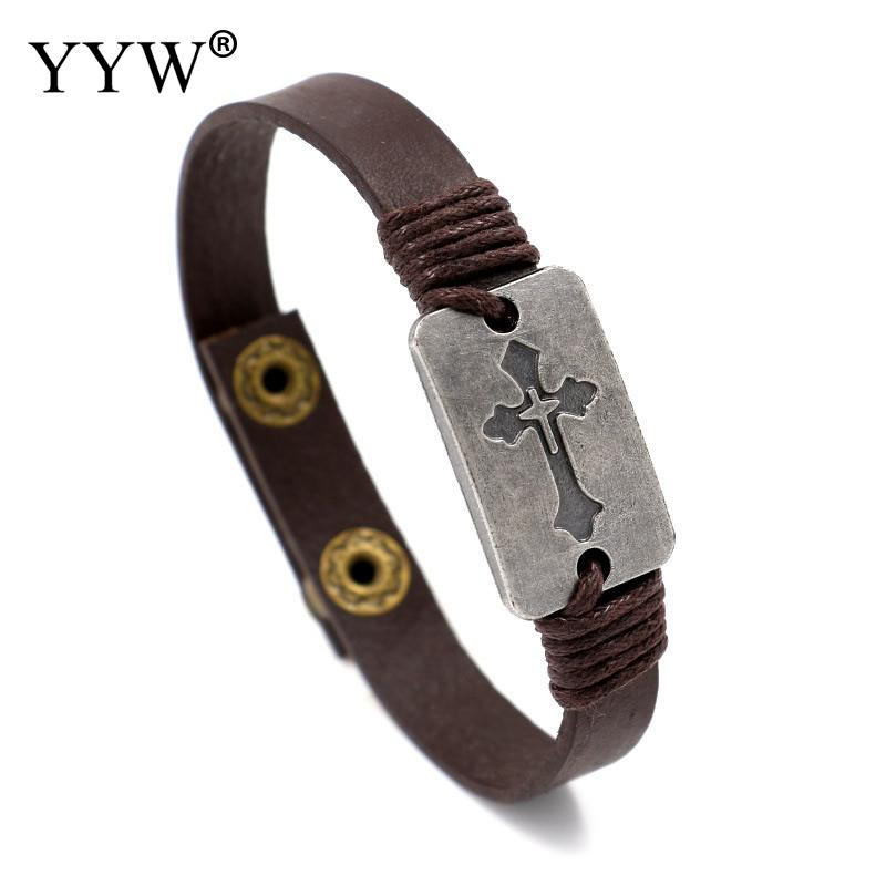 2017 New Gold Cross Bracelet Men Jewelry Stainless Steel Individuality Rock Bracelets & Bangles Leather Pulseira Masculina