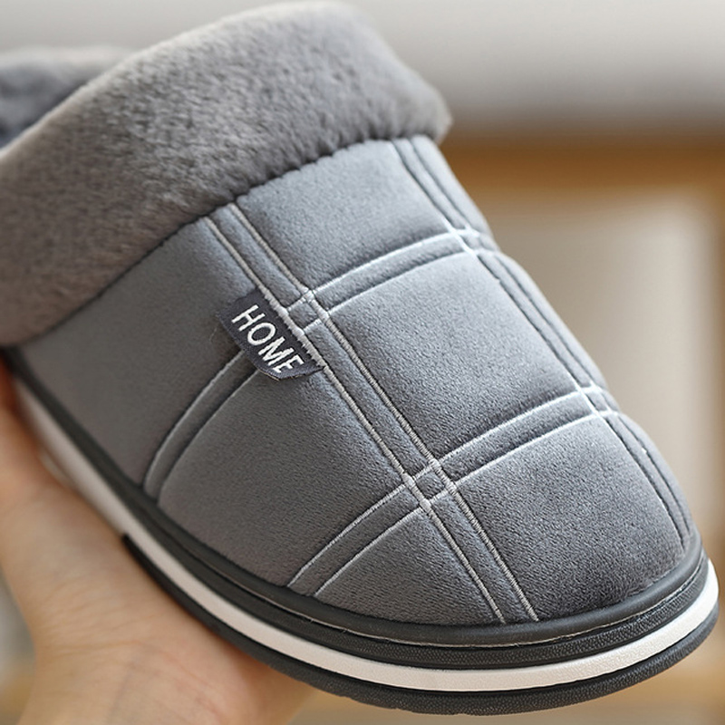 Men's Slippers Home slippers Size 50 Warm Antiskid Sturdy Sole House shoes for men Gingham Velvet Suede Fur slippers 4