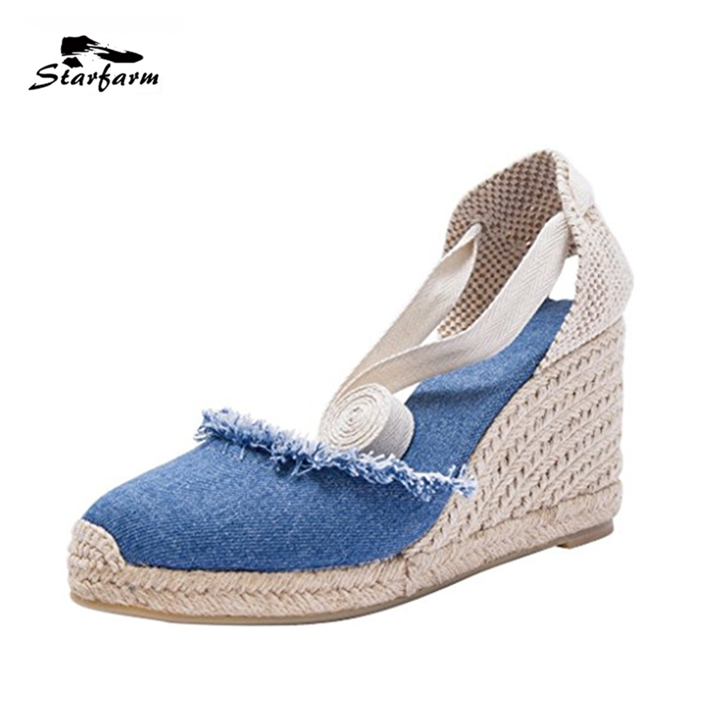 STARFARM Casual Summer Sandals Women Shoes 2017 Hot Sale Shoes Woman Chic Wedges Espadrilles Old Peking Shoes Solid Color Shoes phyanic 2017 gladiator sandals gold silver shoes woman summer platform wedges glitters creepers casual women shoes phy3323