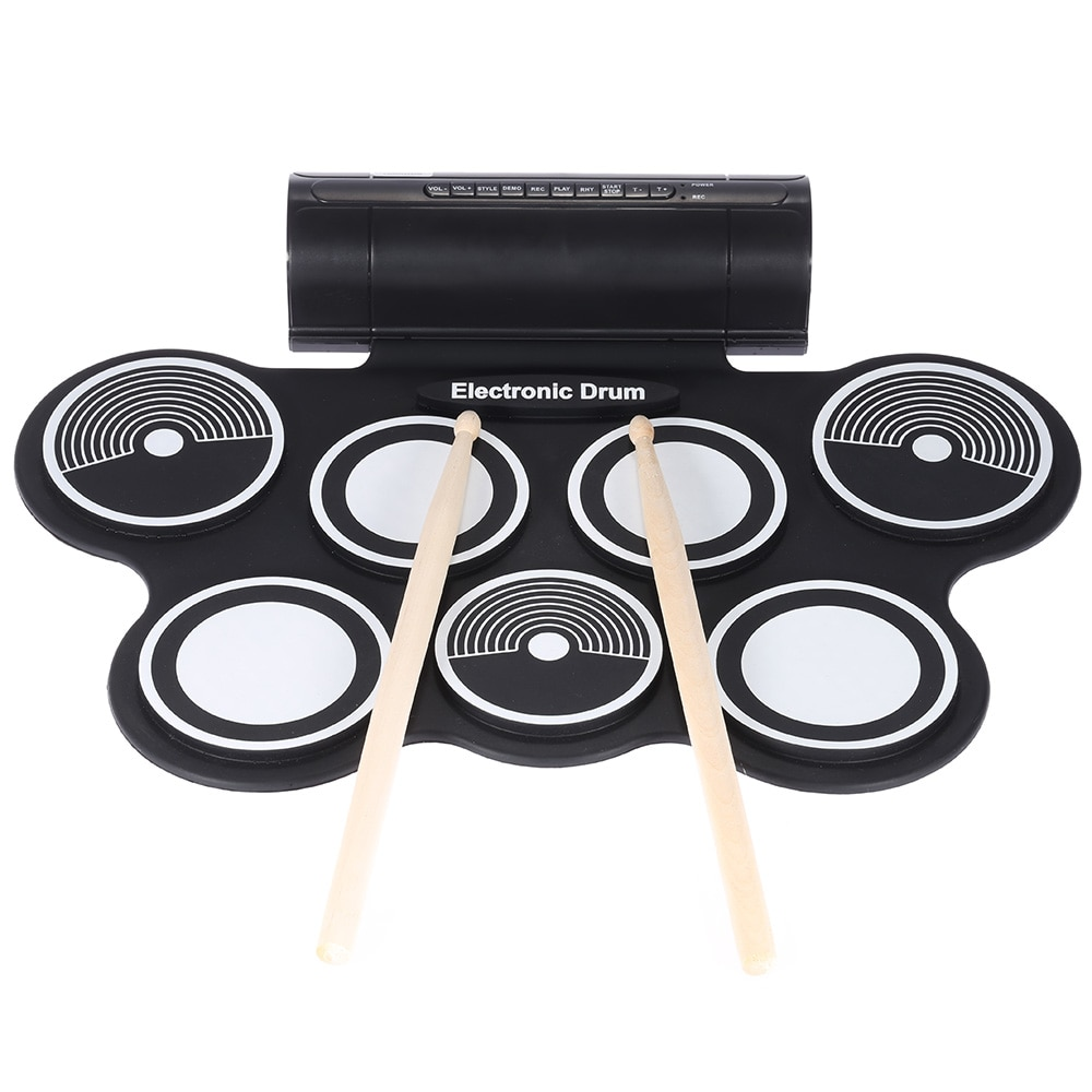 Portable Foldable Silicone Electronic Drum Pad Kit Digital USB Roll-up with Drumstick Foot Pedal 3.5mm Audio CablePortable Foldable Silicone Electronic Drum Pad Kit Digital USB Roll-up with Drumstick Foot Pedal 3.5mm Audio Cable