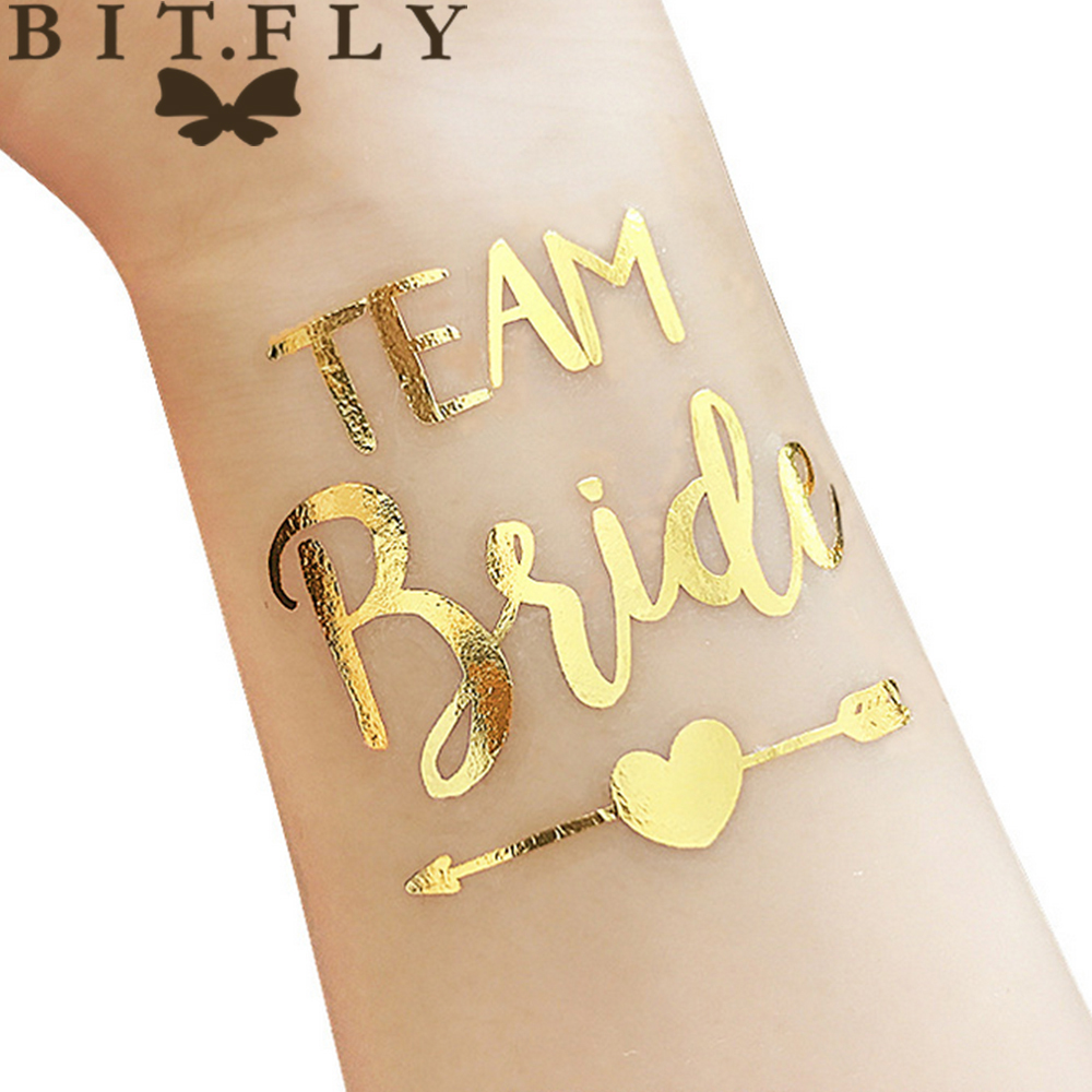 10pcs Waterproof Bridesmaid Team Temporary Tattoo Bachelorette Party Sticker Decoration Marriage Bride To Be Party Supplies