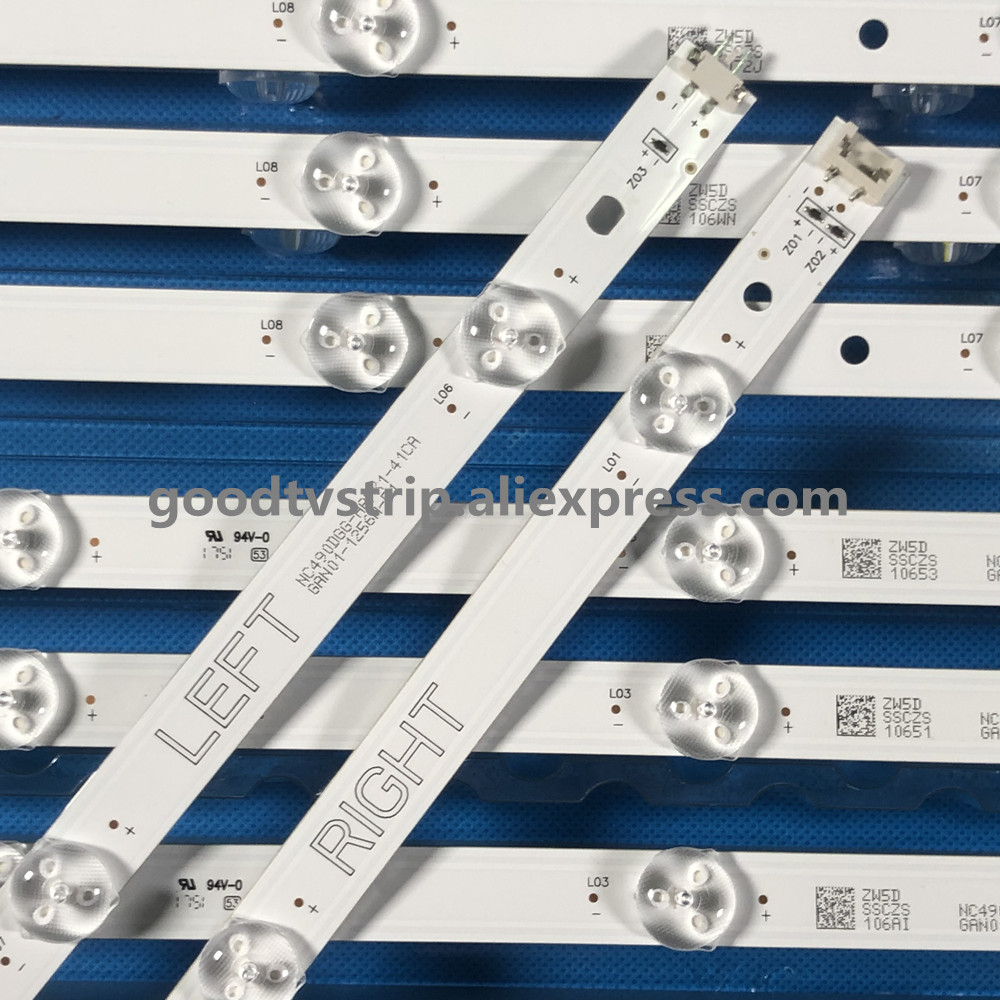 8pcs LED strip For LG 49 TV NC490DUE AAFX1 41CA GAN01 1294A P1 RIGHT GAN01 1295A