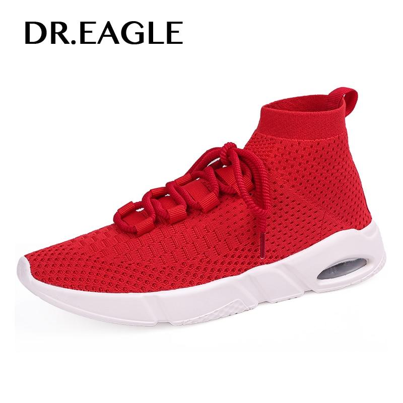 DR. EAGLE черный красный кроссовки Носки мужские кроссовки спортивные кроссовки дышащая сетка Летние удобные босоножки Дешевые корзины homme
