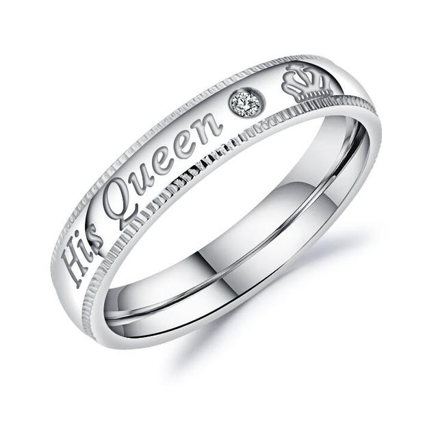 "new design ""His Queen"" and ""Her King""stainless steel Couple rings for lovers"