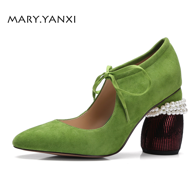 Spring/Autumn Women Shoes Pumps Kid Suede Genuine Leather Casual Fashion Med Heel Lace-Up Pointed Toe Shallow String Bead Pearl