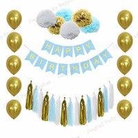 Whole Set Blue White Gold Happy Birthday Bunting Banner Tissue Paper Pom Poms Tassel Garland Party