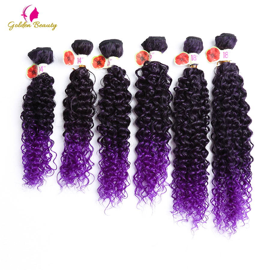 Golden Beauty 6pcs/pack Kinky Curly Sew in Weave Hair Extensions 14-18 inch Ombre purple and brown Synthetic Hair Wefts