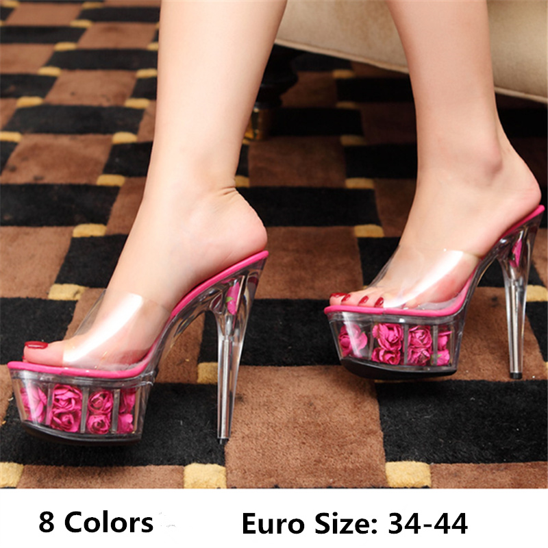 Size 34-44 Qitong PU Woman Thin Ultra High Heels Platform Slipper and Sandals Nightclub Womens Shoes High Heeled Sexy Beach Shoe  euro size 34 44 pu woman 15 and 17cm high heels platform sandals nightclub woman high heeled birthday party shoes for t station