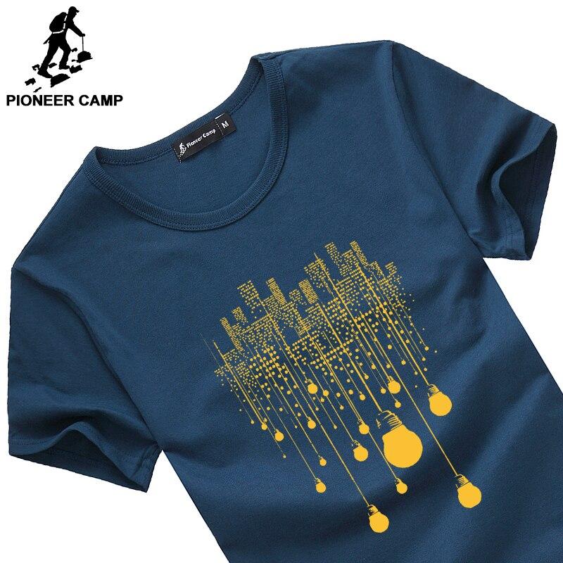 Pioneer Camp moda verão curto t shirt homens marca de roupas de algodão confortável masculino t-shirt impressão camiseta roupas masculinas 522056