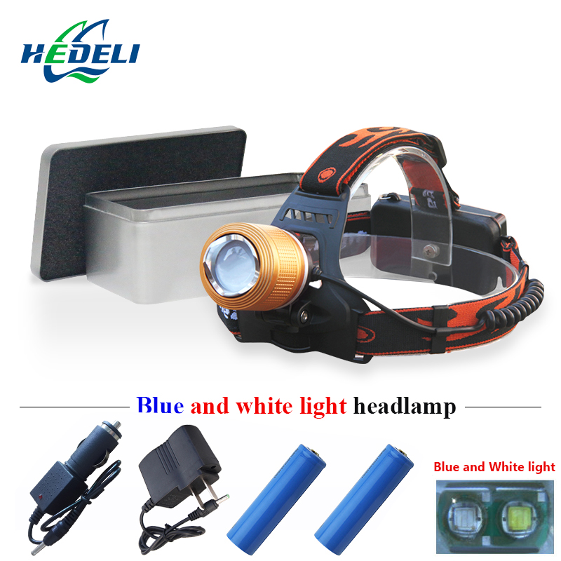 2000 lumen Blu-ray or white light headlamp led rechargeable headlight hunting and fishing lamp head flashlight torch orehead
