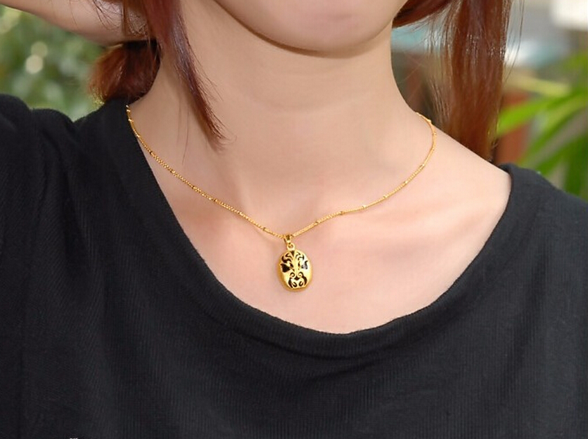 Luxury Fashion Design 3D 24k Yellow Gold Black Chinese Old Culture Face Pendant 2.32g