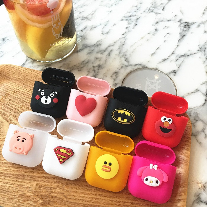 1PCS Cartoon Soft Silicone Case For Apple Airpods Shockproof Cover For Apple AirPods Earphone Cases Cute Air Pods Protector Case shockproof for airpods case earphone case tpu silicone bluetooth wireless headphone protector cover for apple airpods case cover