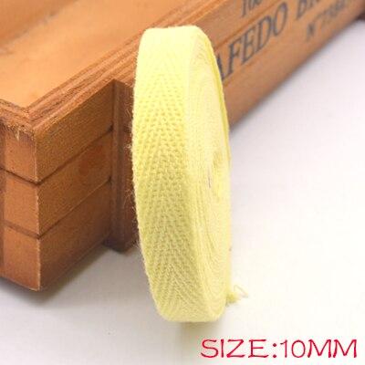 Новые цветные 10 мм шеврон хлопок ленты тесьма сельдь bonebinding ленты кружева обрезки для упаковки аксессуары DIY - Цвет: yellow 605