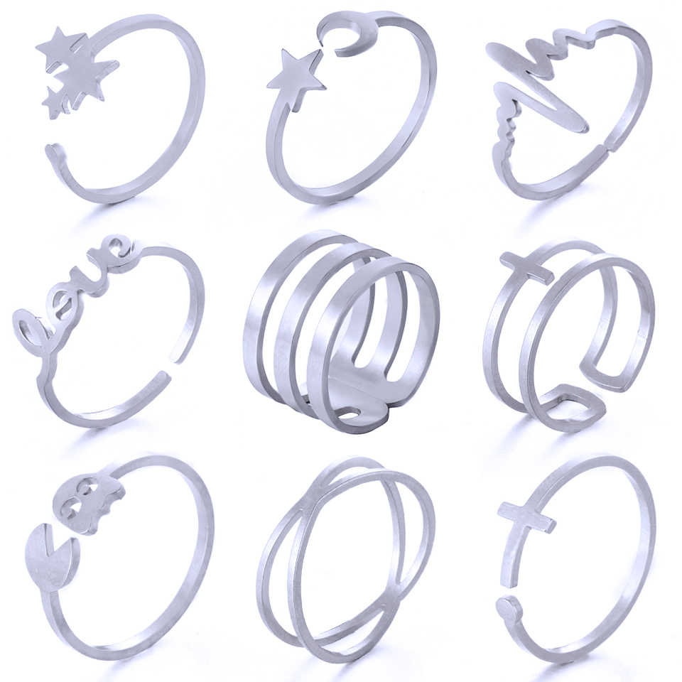 Unique Adjustable Ring Set Punk Style Gold Color Knuckle Rings For Women Stainless Steel Finger Knuckle Rings Ring Sets Jewelry