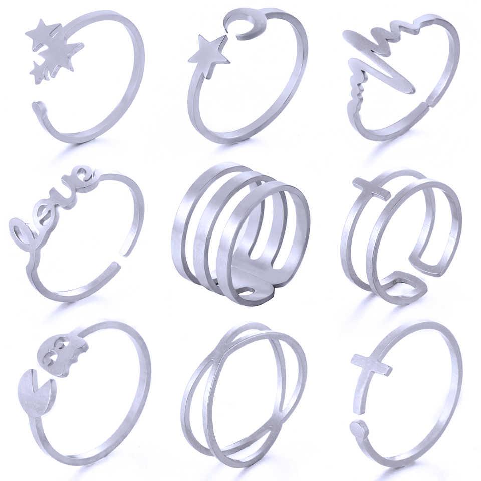 Уникальный регулируемый комплект панк-колец стиль золотого цвета кольца для суставов палец для женщин костяшки пальцев из нержавеющей стали кольца наборы ювелирных изделий