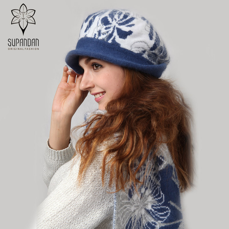 SUPANDAN Blue Hat Scarf Sets Rhinestone Flowers Wool Winter Warm Chunky Thick Knit Berets Hats And Scarves Christmas Gift 8466MG