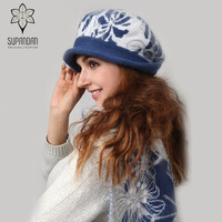 SUPANDAN Blue Hat Scarf Sets Rhinestone Flowers Wool Winter Warm Chunky Thick Knit Berets Hats And
