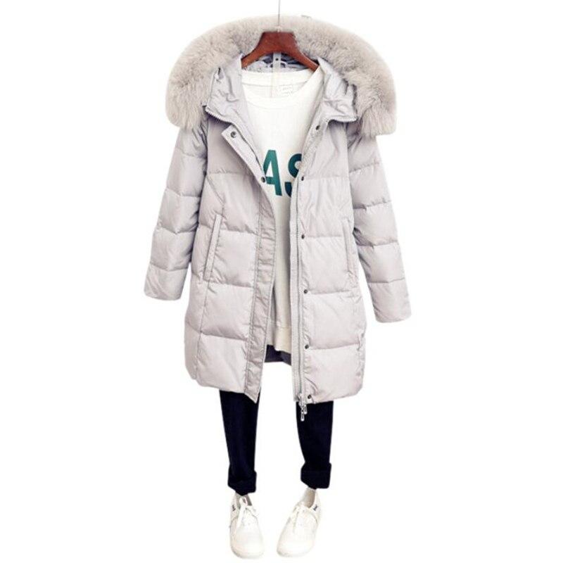 2018 Winter Jackets Women 90% White Duck   Down     Coat   Parkas Fox fur collar Hooded   Down   Jacket Medium Long Fashion Warm Outwear